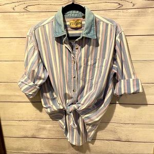 Vintage inspired striped button down